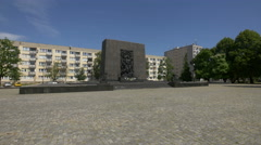 Monument to the Ghetto Heroes in Warsaw Stock Footage