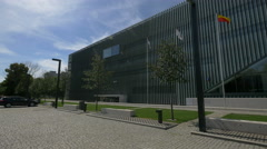 Beautiful view of Polin Museum of the History of Polish Jews in Warsaw Stock Footage