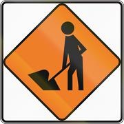New Zealand road sign - Road Workers ahead, use extra caution Stock Illustration