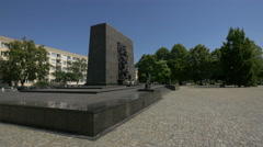 View of Monument to the Ghetto Heroes in Warsaw Stock Footage