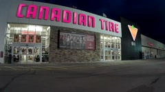 Canadian Tire Retail Store at night Stock Footage