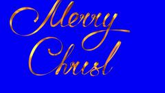 """Writing Golden Ribbon Text """"Merry Christmas"""" Over Blue Background. Stock Footage"""