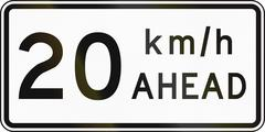New Zealand road sign - Road works speed limit ahead, 20 kmh - stock illustration