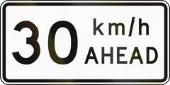 New Zealand road sign - Road works speed limit ahead, 30 kmh Stock Illustration
