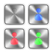 Color user avatar steel buttons - stock illustration