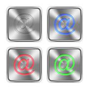 Color email steel buttons Stock Illustration