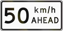 Stock Illustration of New Zealand road sign - Road works speed limit ahead, 50 kmh