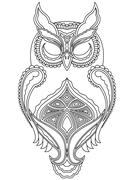 Abstract outline of owl with close eyes Stock Illustration