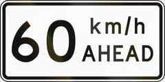 New Zealand road sign - Road works speed limit ahead, 60 kmh - stock illustration