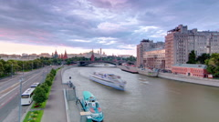 Russia. Moscow. View from the Patriarchal Bridge towards the Moscow Kremlin and Stock Footage