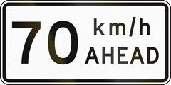 New Zealand road sign - Road works speed limit ahead, 70 kmh - stock illustration
