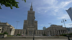 Palace of Culture and Science near Zlota 44 skyscraper in Warsaw Stock Footage