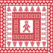 Xmas tile with gingerbread man Stock Illustration