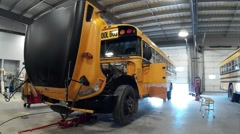 School Bus Maintenance Stock Footage
