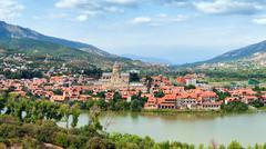 Panoramic view of Mtskheta, Georgia - stock photo