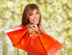 Shopping woman with paper bags. - stock photo