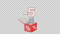 5 percent out of the box. Animated element with Alpha channel Stock Footage