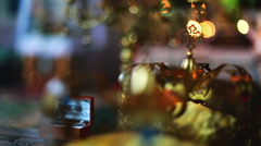 Wedding crowns. Orthodox Church. Close-up focus pull. Stock Footage