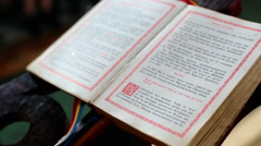 Bible in moldavanian. Orthodox chirch. Stock Footage