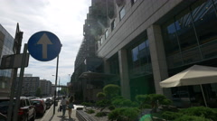 Entering the Mercure Hotel in Warsaw Stock Footage