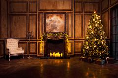 Classic New Year Tree decorated Stock Photos