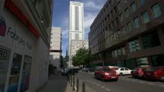 InterContinental Hotel seen from Sliska street in Warsaw Stock Footage