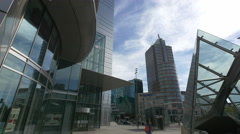 Ilmet Tower seen from the entrance of Rondo 1, Warsaw Stock Footage