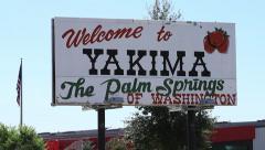 Tilt down on Yakima Billboard - stock footage