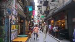 4k dolly shot of people walking along Centre Place in Melbourne, Australia. Stock Footage