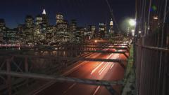Brooklyn Bridge Traffic and NYC Manhattan Skyline Timelapse - stock footage