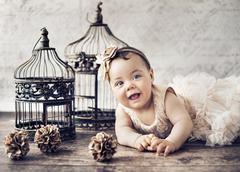 Portrait of a little cute girl Stock Photos