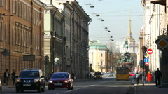 Saint Petersburg, Russia. Voznesensky prospect leading to St. Isaac Square and Stock Footage