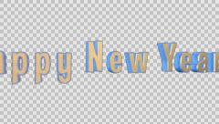 Happy New Year Merry Christmas Epic 3D  Gold Words + Alpha Channel Stock Footage