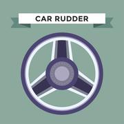 Vector rudder flat icons set - stock illustration