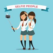 Stock Illustration of Selfie shots mans gays couple vector illustration