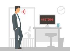 Voice control vector illustration. Smart computer - stock illustration