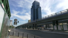 Traffic at rondo Czterdziestolatka, near the Central Tower in Warsaw Stock Footage