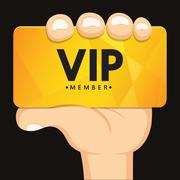 Hand holding vip card Stock Illustration