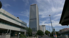 View of the Oxford Tower and Hampton by Hilton Hotel in Warsaw Stock Footage