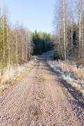 Rural dirt road and rime Stock Photos