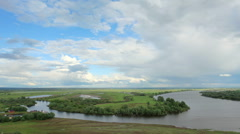 Movement of clouds on the river Kama. Elabuga, Republic of Tatarstan, Russia,  Stock Footage