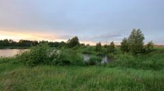 Sunset on the lake, Mozhga, Udmurt Republic, Russia Stock Footage
