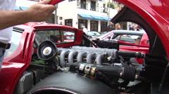 Red Ferrari 512i engine reveal Stock Footage