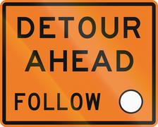 New Zealand road sign - Detour ahead, follow circle symbol - stock illustration