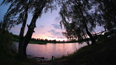 Sunset on the lake, Mozhga, Udmurt Republic, Russia, Full HD Stock Footage