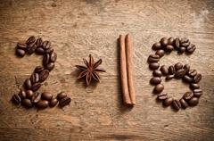 Happy new year card 2016 with coffee beans,  anise and cinnamon Kuvituskuvat