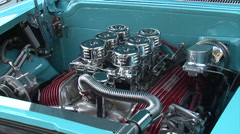 Street Rod Offenhauser V8 6 chrome carbs Stock Footage