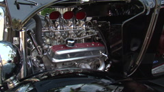 Street Rod V8 6 carbs and headers close-up Stock Footage