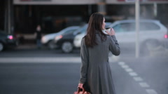 Woman crossing the street at a pedestrian crossing Stock Footage