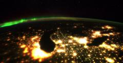Michigan, Chicago, the Great Lakes and Northern Lights from space 4K Stock Footage